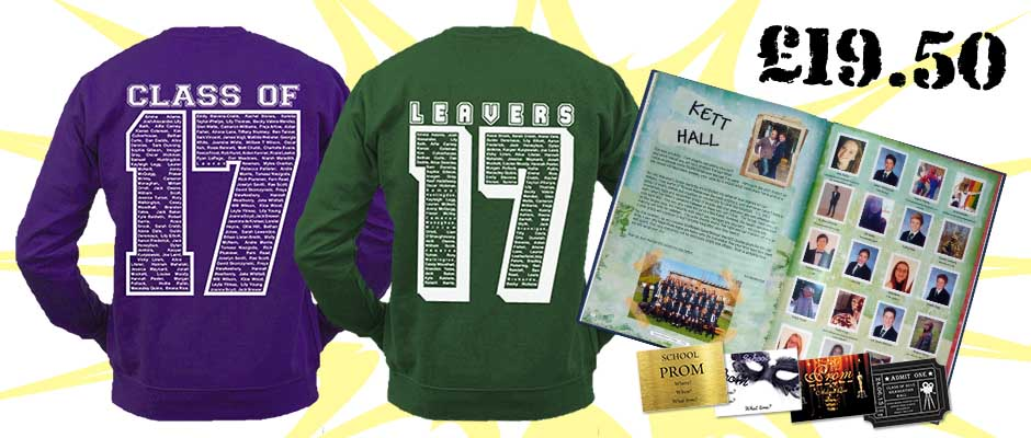 School leavers sweatshirts and yearbooks combo offer