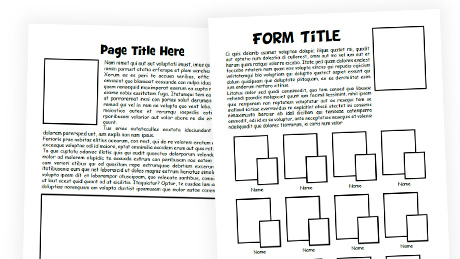 Wireframe Outline School Yearbook Templates