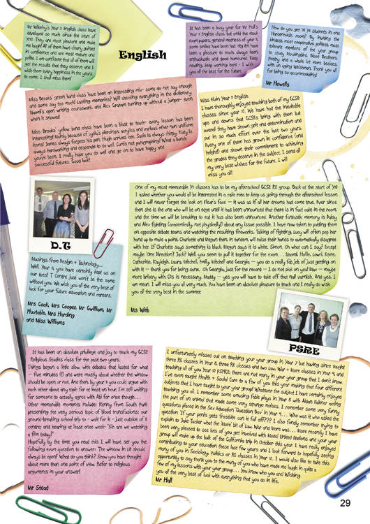 Year 11 Yearbook Sample Pages | Hardy\'s Yearbooks